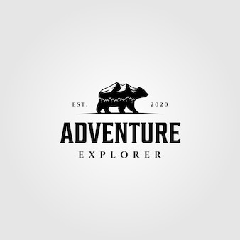 Logo adventure bear mountain mountain walk