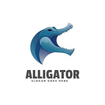 Logo aligatora gradientu kolorowy styl.
