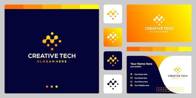 Logo analityczne ze stylem technicznym i kolorem gradientu. wizytówka.