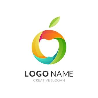 Logo apple, nowoczesny styl logo w żywych kolorach gradientu
