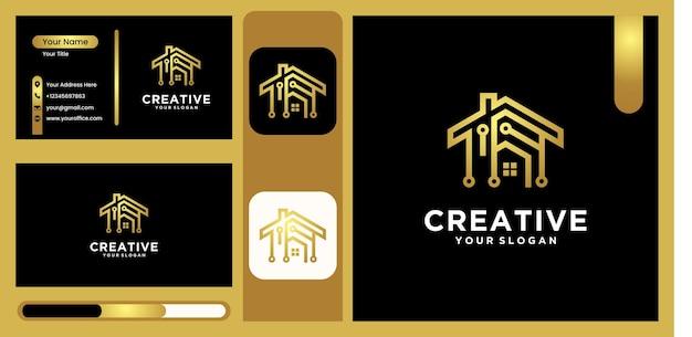 Logo architektury domu technologicznego, logo budynku z nowoczesnym wzornictwem linii technologicznej w luksusowym i modnym złotym kolorze