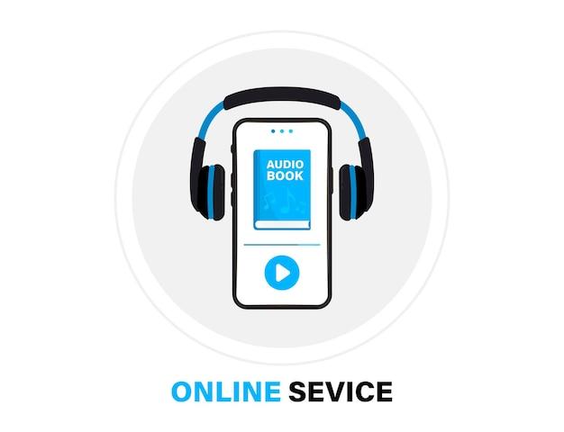 Logo audiobooków. słuchaj literatury, e-książek w formacie audio. książki online aplikacji mobilnych płaski ikona. audiobook online ze słuchawkami, e-learning na odległość. podcast, seminarium internetowe, samouczek