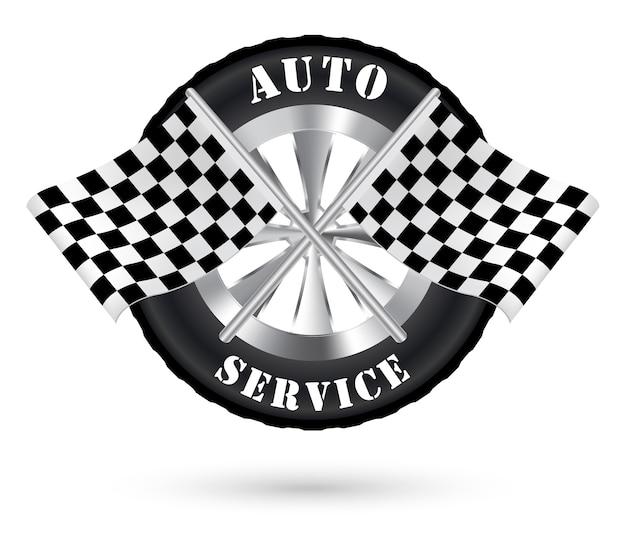 Logo auto serwis samochodowy z flagą wyścigów