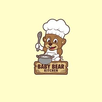 Logo baby bear kuchnia maskotka ikona znak wektor