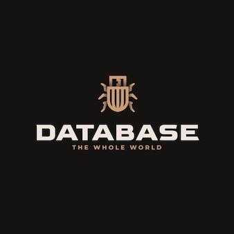 Logo bazy danych prosty styl maskotki.