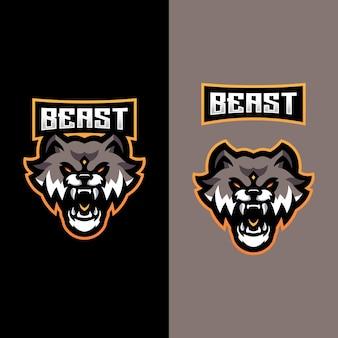 Logo beast mascot dla zespołu e-sportowego zajmującego się grami sportowymi