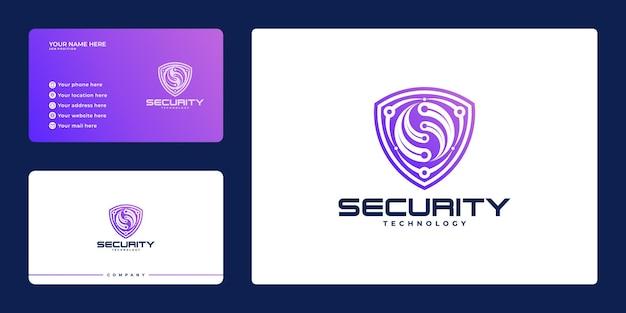 Logo bezpieczeństwa cybernetycznego z tarczą i wizytówką, koncepcja tarczy bezpieczeństwa, bezpieczeństwo w internecie,