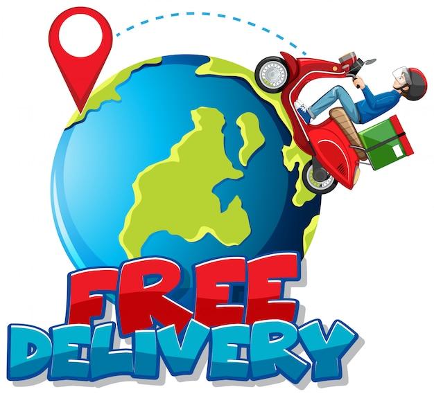 Logo bezpłatnej dostawy z rowerzystą lub kurierem jeżdżącym po ziemi