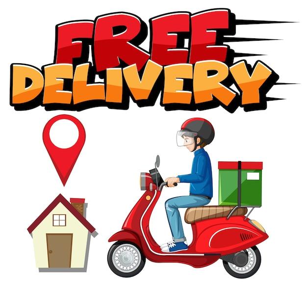 Logo bezpłatnej dostawy z rowerzystą lub kurierem