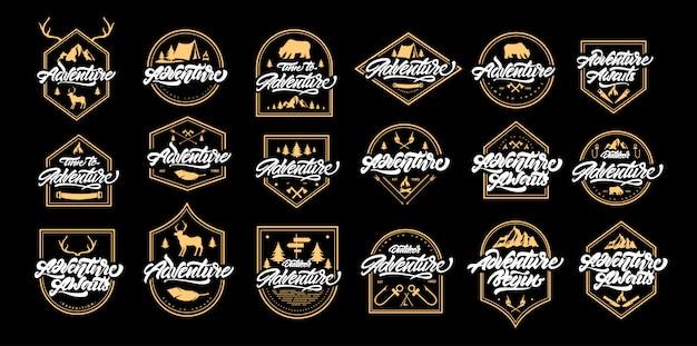 Logo big adventure ze złotymi ramkami. vintage logo z górami, ogniskami, niedźwiedziem, jeleniem, porożem, strzałkami.