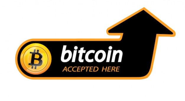 Logo bitcoin kryptowaluty z napisem tutaj przyjętym