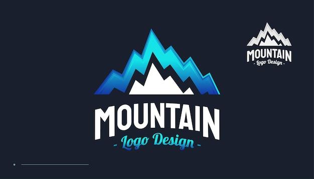 Logo błękitnej góry. projektowanie logo wzgórza krajobrazu