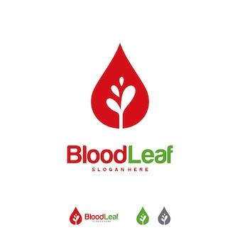 Logo blood leaf projektuje wektor koncepcyjny, szablon projektów logo dawcy, koncepcja projektu, logo, element logo dla szablonu