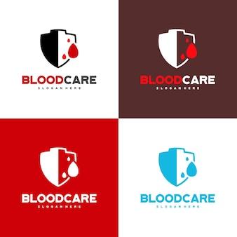 Logo blood shield projektuje wektor koncepcyjny, szablon projektu logo blood care z wariacją kolorów