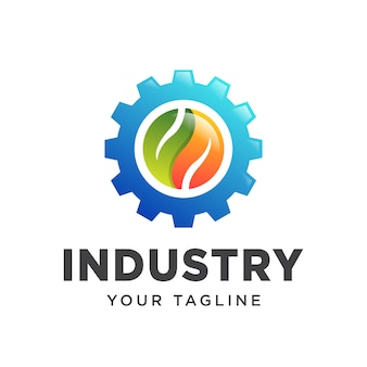 Logo branży liści przekładni prosty gradient.