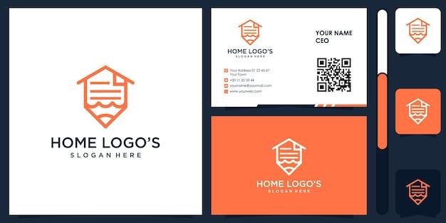 Logo budowy domu z wektorem projektu wizytówki premium