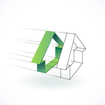 Logo budowy i architektury, koncepcja projektu nieruchomości.