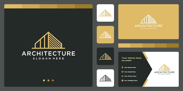 Logo budynku architektonicznego z szablonem projektu logo nieruchomości. wizytówka.