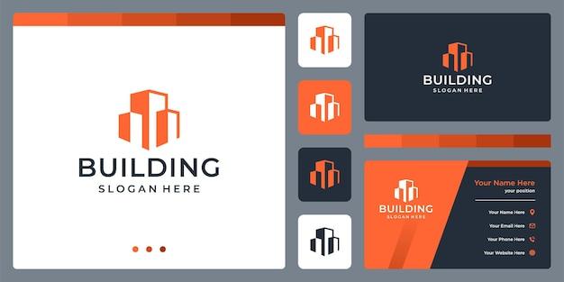 Logo budynku architektonicznego z szablonem projektu logo nieruchomości.