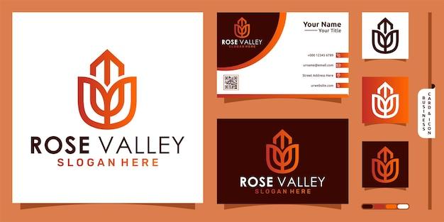 Logo budynku doliny z nowoczesną koncepcją róży i projektem wizytówek premium vector