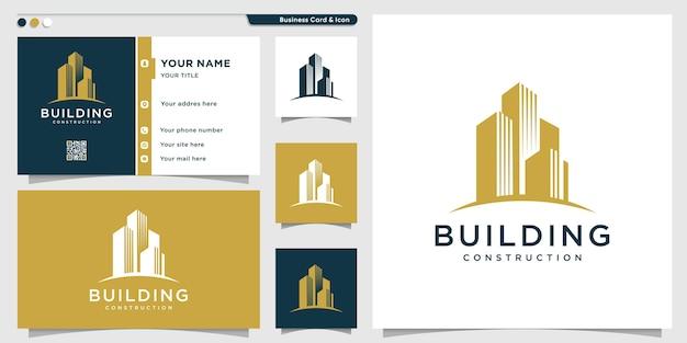Logo budynku o kreatywnym wyglądzie i szablonie wizytówki