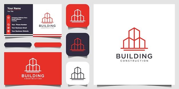 Logo budynku w stylu grafiki liniowej. city building abstract for logo design inspiracja i projektowanie wizytówek