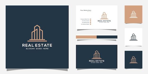 Logo budynku w stylu sztuki linii. streszczenie budynku miasta dla inspiracji do projektowania logo i projektowania wizytówek