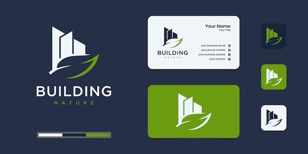 Logo budynku z inspiracją do projektowania liści z naturą. eko, spa, hotel, budowniczy i architektura.
