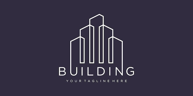 Logo budynku z koncepcją linii.
