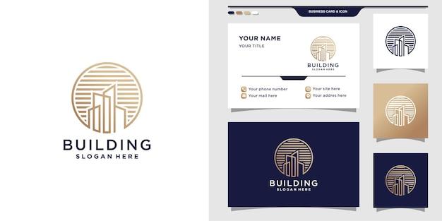 Logo budynku ze stylem grafiki liniowej i projektem wizytówki