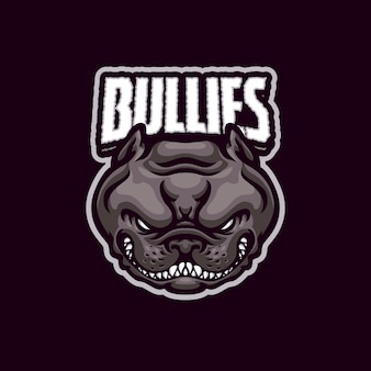 Logo bullies dog mascot dla drużyny e-sportowej i sportowej