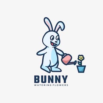Logo bunny prosty styl maskotki.