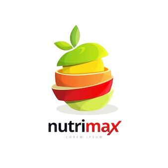 Logo burgera plasterek świeżych owoców