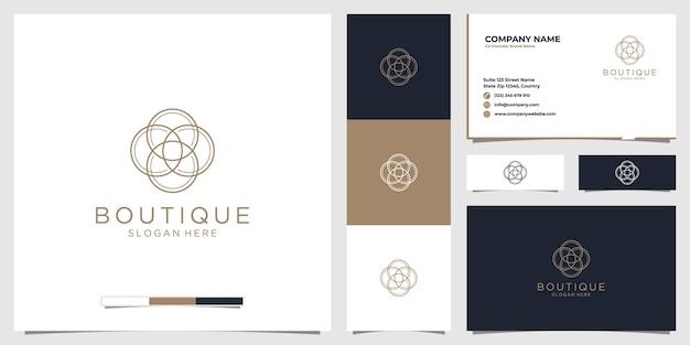 Logo butiku piękności ze stylem grafiki liniowej i wizytówką