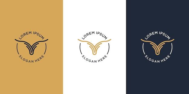 Logo byka wołowego. logo steków z grilla i mięsa do grillowania