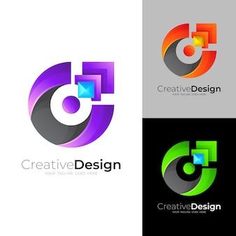 Logo c z nowoczesnym wektorem, kolorowe ikony 3d
