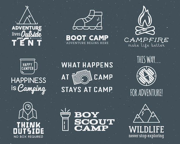 Logo camping z elementami typografii i podróży