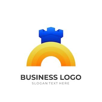 Logo castle sun w stylu żółtym i niebieskim 3d