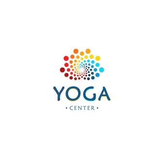 Logo centrum jogi abstrakcyjny kwiat lotosu uroda okrągły cyfrowy kształt kolorowe koła wektor logotyp
