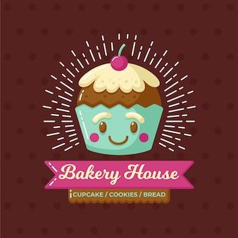 Logo ciasta piekarniczego z cupcake