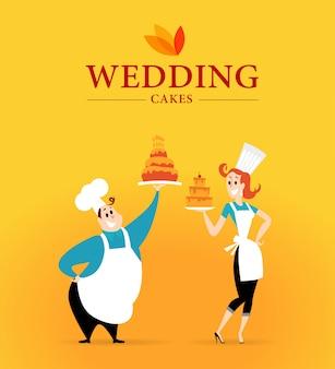 Logo ciasta weselnego i postacie kucharza. ilustracja.
