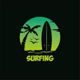 Logo ciemne surfingowe płaskie