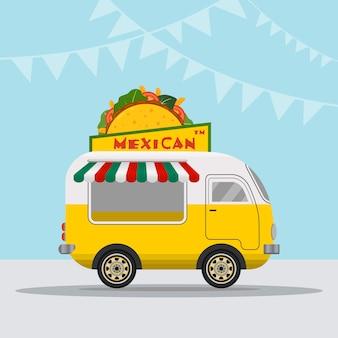 Logo ciężarówki z jedzeniem dla szybkiej dostawy meksykańskiego posiłku lub letniego festiwalu żywności.