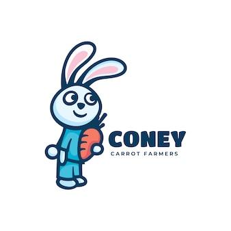 Logo coney prosty styl maskotki.