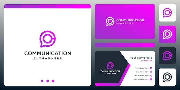 Logo creative chat i logo litery c. projekt wizytówki.