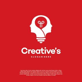 Logo creative people z wektorem koncepcji żarówki, pomysł na logo lampy ludzkiej głowy