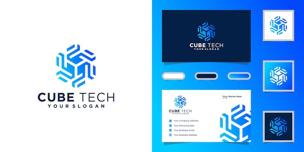 Logo cube tech, sześciokąt i wizytówka inspiracji