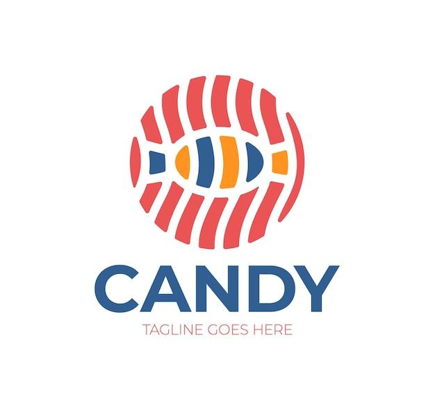 Logo cukierków. logotyp dla słodyczy, cukierni, butiku, sklepu