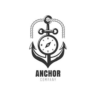 Logo czarnej kotwicy z kompasem, ilustracja