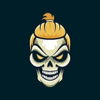 Logo czaszki w stylu włosów